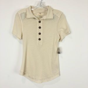 Free People Poppy Polo White Sands Tee Size Small
